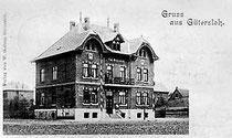 Postkarte vom Amtshaus an der Bismarckstraße, erbaut 1900