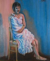 ピンクと青の照明の中の女            (油彩・F20 )