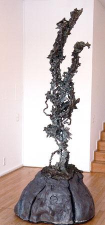 """Thomas Virnich """"Blitz (Eiffelturm)"""", 2000-2012, Bronze, Stahl, Steingut hochgebrannt, verlorener Guß, 257x90x90cm"""