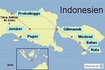 Bild: Reiseroute von Indonesien