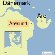 Karte mit der Insel Årø in Dänemark
