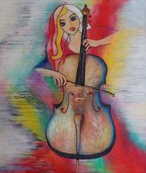 Gemälde, Leinwand, Kunst, art, Augenfreud, Original, Unikat, Acryl, Musik, Cello, Cellistin, Musik, Malerei, abstrakt, bunt