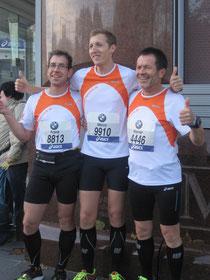 3 der 4 Starter beim Frankfurt Marathon