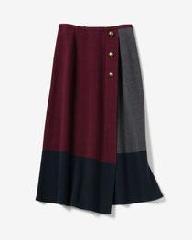 DoCLASSE カラーブロック・ラップ風ニットスカート