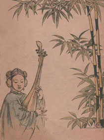 Misicienne. René de Pont-Jest (1830-1904) : Le Fleuve des Perles (L'Araignée-Rouge). Émile Dentu, Paris, 1889, 420 pages, 197 compositions et dessins d'après nature par Félix Régamey (1844-1907).