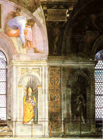 Rom, Sixtina: gereinigte und ungereinigte Freskenwand