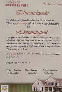 Ernennungsurkunde zum Ehrenmitglied Jan Luley