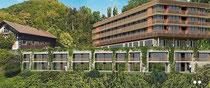 Hotel mit Schafstall (li.) vor der Achalm