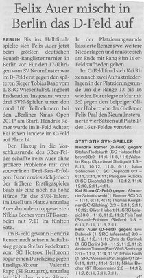 Holsteinischer Courier - 09.12.11: SVN-Trio in Berlin am Start