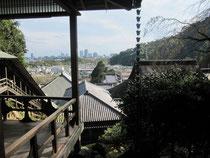 遠方には県庁や葵タワーが。新旧相乱れた茶室からの展望。