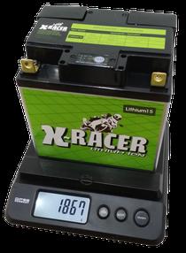Unibat X-Racer Lithium-Ionen Batterie wiegt weniger als 2000 Gramm.