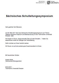 Sächsische Bildungsinstitut Schulleitersymposium Fr. Wilde