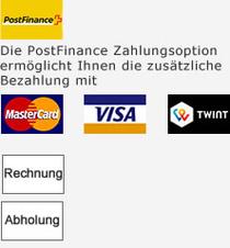 - Die PostFinance Zahlungsoption ermöglicht Ihnen NEU zusätzlich das Bezahlen mit VISA und MasterCard. - PayPal - Per Rechnung - Bei Abholung