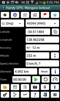 Handy GPS's main screen