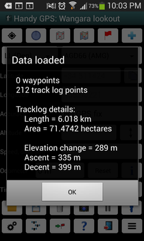 Handy GPS information screen