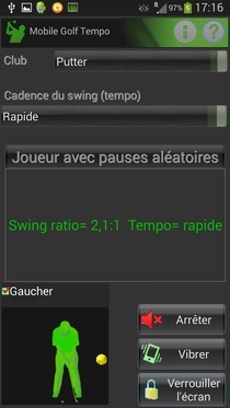 Mobile Golf Tempo avec putter en mode simple
