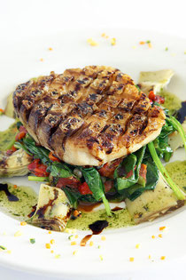 Grilled Striped Bass on Baby Spinach and Baby Artichokes