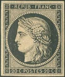 Le 20 centimes noir, premier timbre de France.