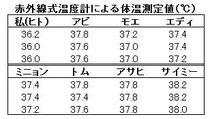 赤外線温度計による測定値(拡大可)