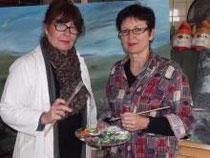 """Annemarie Kijaszek (links) und Britta Jung aus Stadecken-Elsheim gehören zu den Künstlern, die beim rheinhessenweiten """"Kommunikation und Kultur""""-Wochenende am 21. und 22. April in Schwabenheim ausstellen. Foto: privat"""