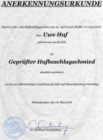 Urkunde - staatl. geprüfter Hufschmied