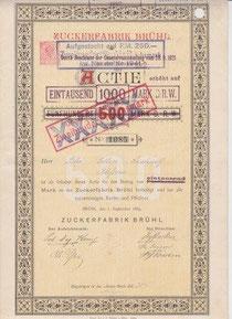 Zuckerfabrik Brühl 1884 500 Mark