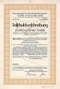 Gewerkschaft des Braunkohlenbergwerks LOUISE: Teilschuldverschreibung