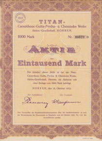 TITAN-Caoutchouc-Gutta-Percha- & Chemische Werke AG Horrem (v.1922; Ausschnitt)