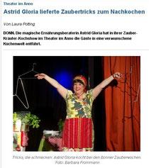 """Astrid Gloria, die """"magische Ernährungsberaterin"""", Pressekritik, Bonner Generalanzeiger"""
