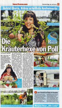 Astrid als Kräuterhexe, Zeitungsausschnitt Express Köln 19. Juli 2012