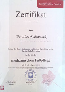 Zertifikat medizinische Fusspflege Fredenbeck