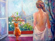 Vista Duomo, olio su tela 80x60 Giuseppe Faraone Galleria scorci di Milano  Cod 95