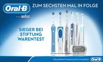 Elektrische Zahnbürsten von Oral-B siegten erneut bei Stiftung Warentest
