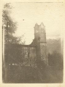 Die Pfarrkirche von Bovec 1915. Sammlung Isonzofront.de