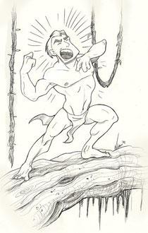 A yelling apeman, by Angelines Amaro Gómez.