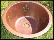 Round Bar Copper Sink Fleur de Lis Desing
