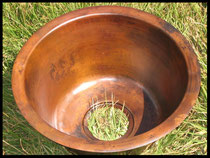 NON HAMMERED Round Bar Copper Sink