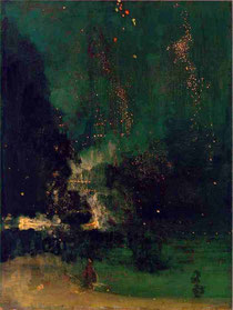 James Abbott McNeill Whistler, 'Nocturne in Black and Gold - The Falling Rocket'. 1875