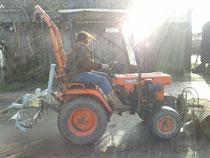 Riccy übt sich in Treckerfahren