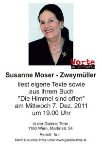 galerie time Lesung  Worte am Mittwoch - Susanne Moser - Zweymüller liest eigene Texte. 7. Dezember 2011