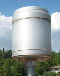 Particolare del pluviometro installato sul tetto del Museo Craveri di Bra (CN)