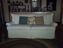 Slip covered couch