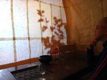 和紙の蚊帳の中に入って作品鑑賞