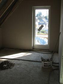 Schlafzimmer frisch verputzt