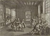 """""""Der Prager Fenstersturz"""" (Kupferstich von Matthäus Merian dem Älteren)"""