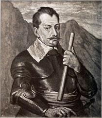 """Albrecht Wenzel Eusebius von Waldstein genannt """"Wallenstein"""" (Kupferstich nach Anthony van Dyck)"""