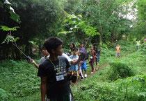 インドカリンの苗木をみんなと一緒に運ぶジェロ君