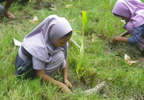 初めての経験で慎重に作業する女の子。小さいころの経験が緑を愛する心を育みます