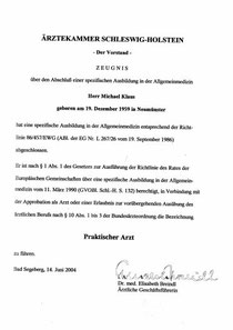 Facharztzeugnis Michael Klaus