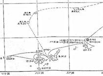 南島探験より無人島(尖閣諸島)への航路が記されている略図。
